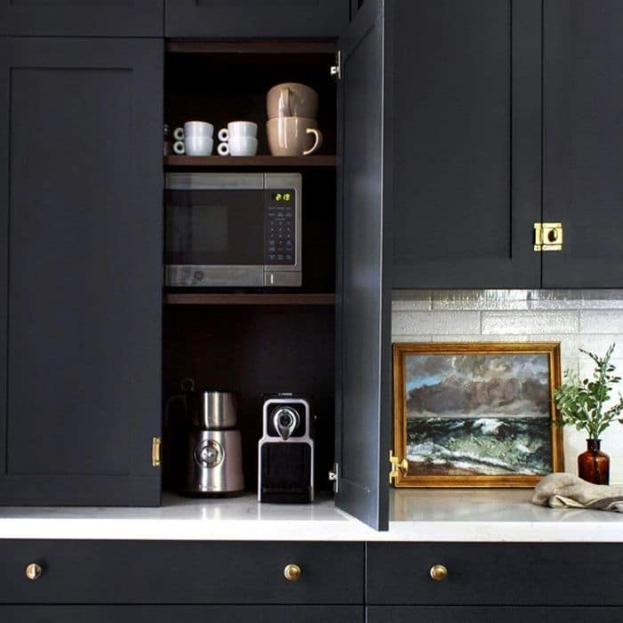 Microwave in cabinet with coffee maker by Beginning In The Middle
