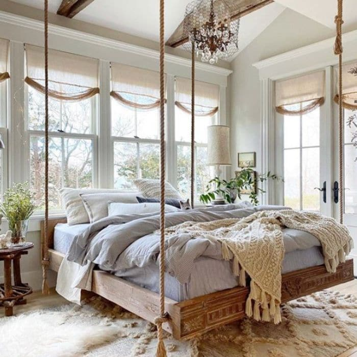 Guest room swinging bed from Old Silver Shed