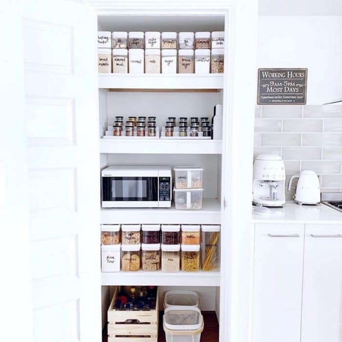 Hidden microwave in spice pantry by Coastal by Sarah