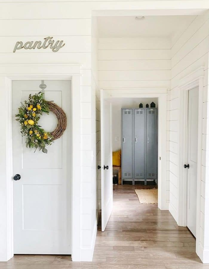 Alabaster White on a pantry & hallway by Revival Home Designs