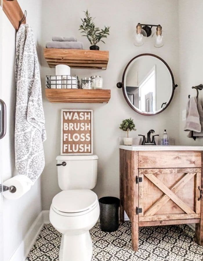 Small bathroom idea with nice wood shelving and cabinet
