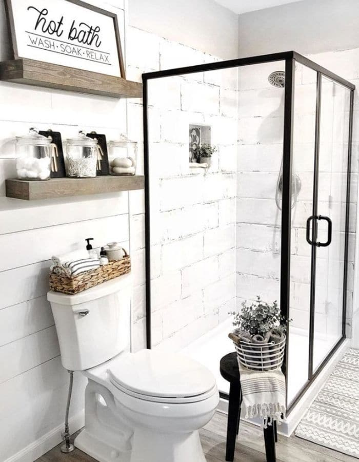 Glass shower doors for more small bathroom ideas by Meagan Marquis Living