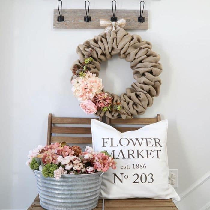 Burlap Farmhouse Spring Wreath by Willow Bloom Home