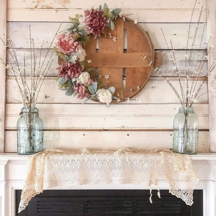 Flower Basket Lid Spring Wreath by Heart and Oak Home
