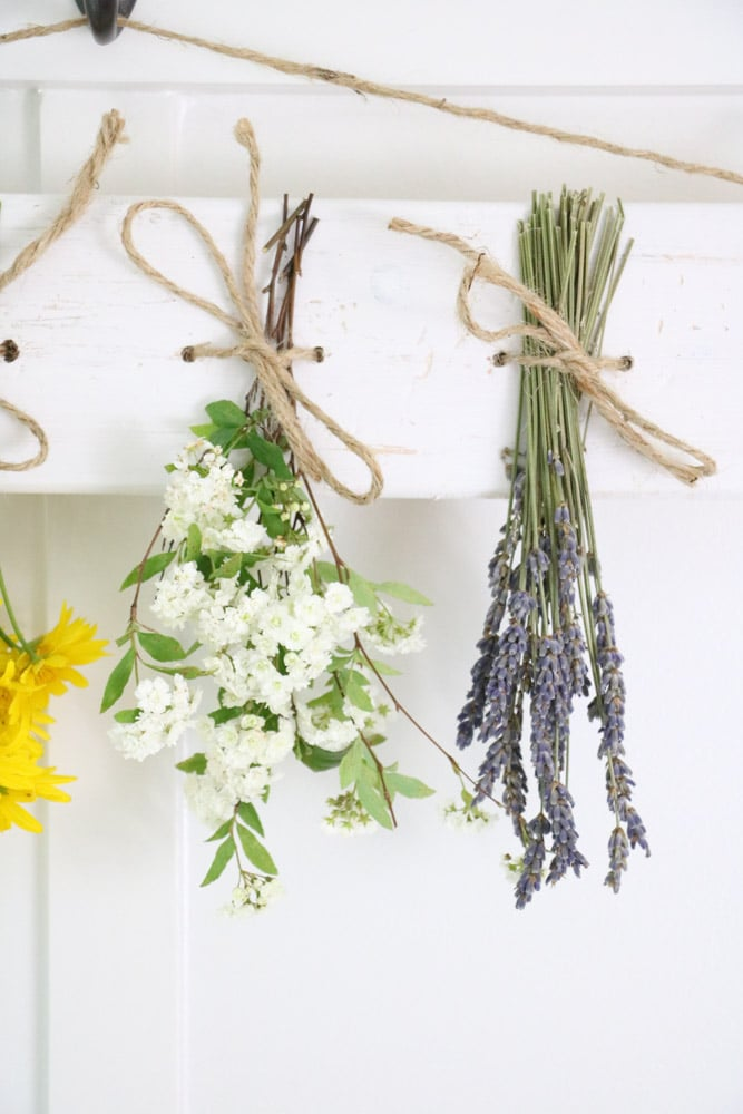 Dried flower wall hanging of lavender and white bridal spirea.
