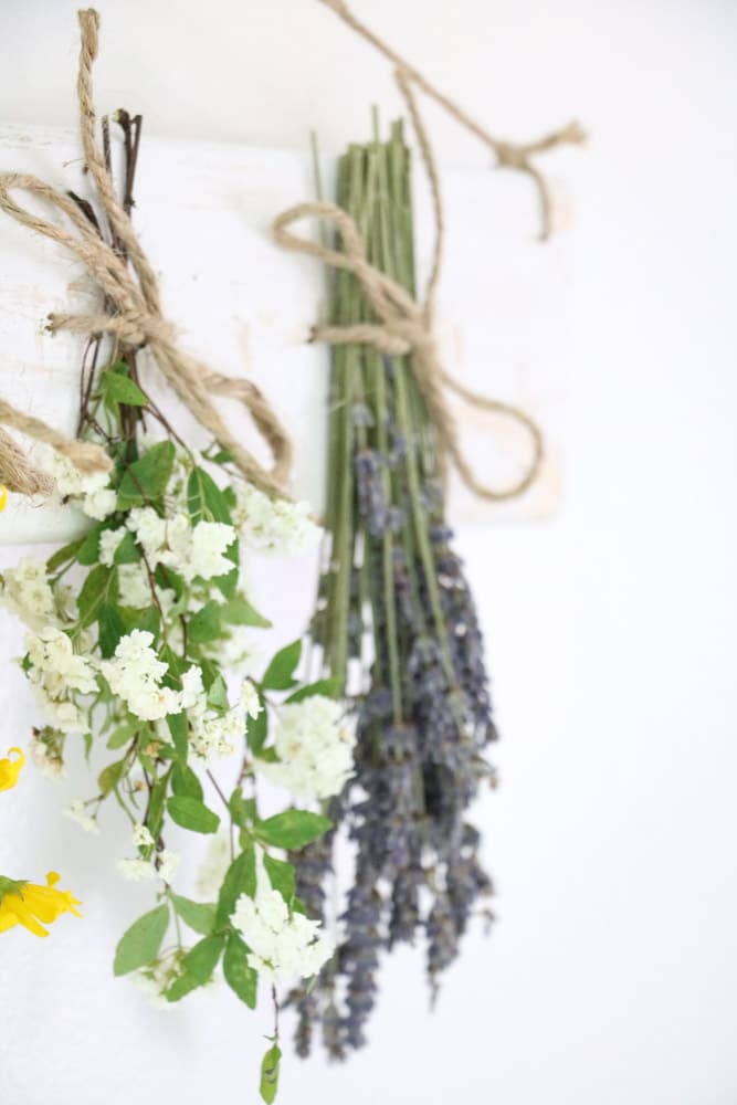 Dried flower wall hanging with flowers tied to a distress white board.