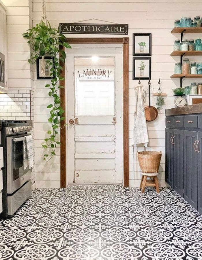 Peel and stick tile in a kitchen by Little Rustic Dream