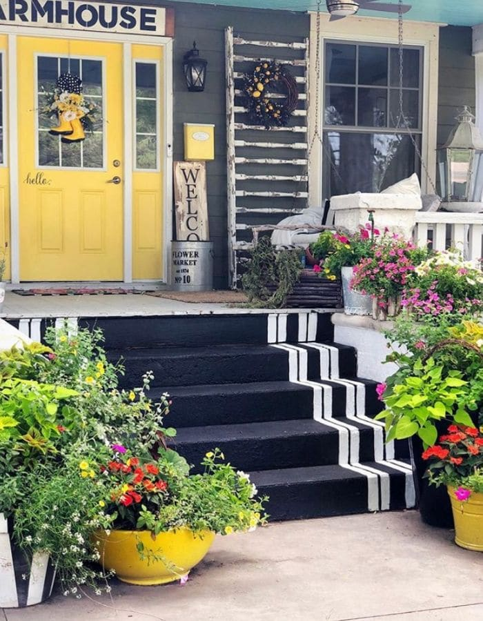 Front porch painted steps by The Pickled Rose