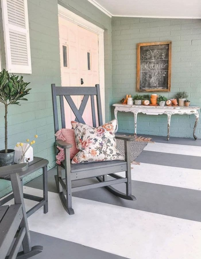 Painted striped concrete porch by Lolly Jane
