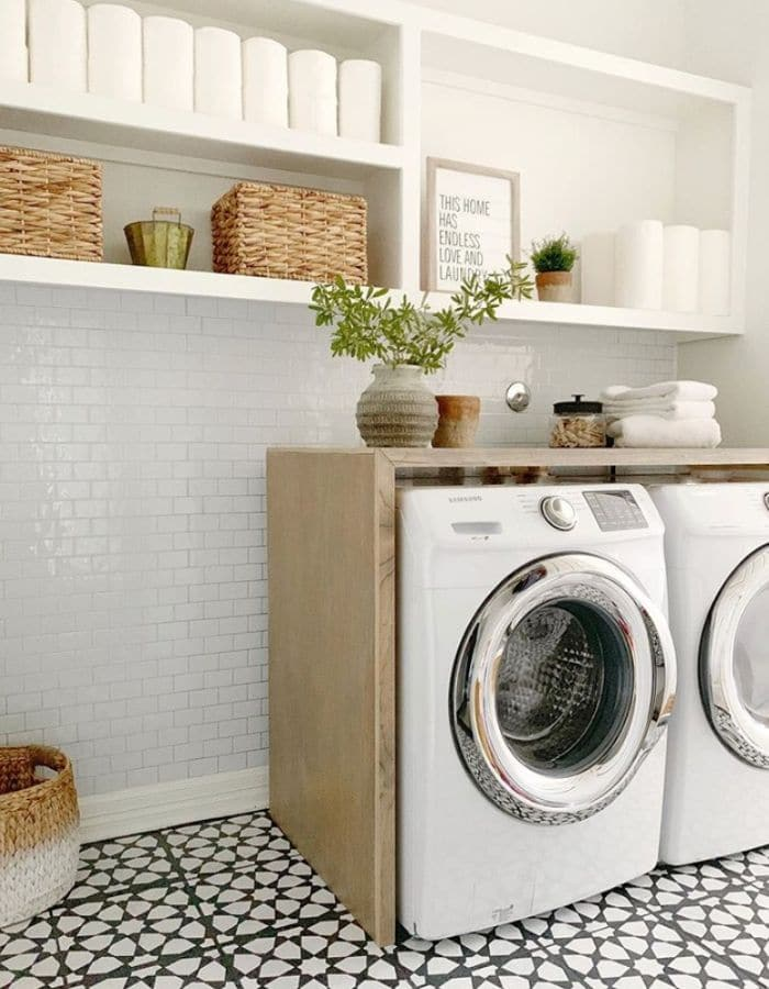 Tile stenciling on a laundry room reno by Pennies for a Fortune
