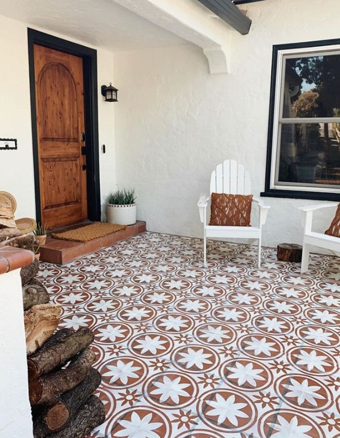 Stenciled outdoor tiles from Arrows & Bows