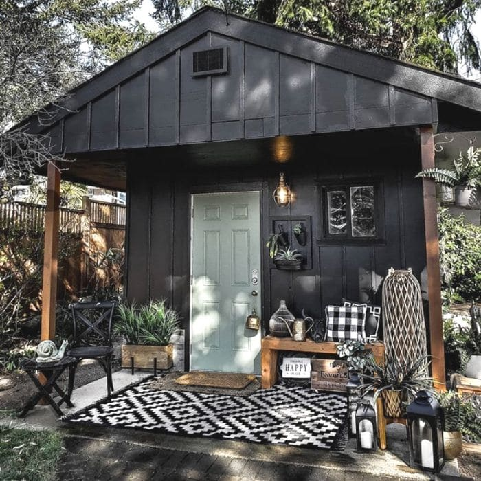 Black Boho Style She Shed by Miss Rustic Arrow