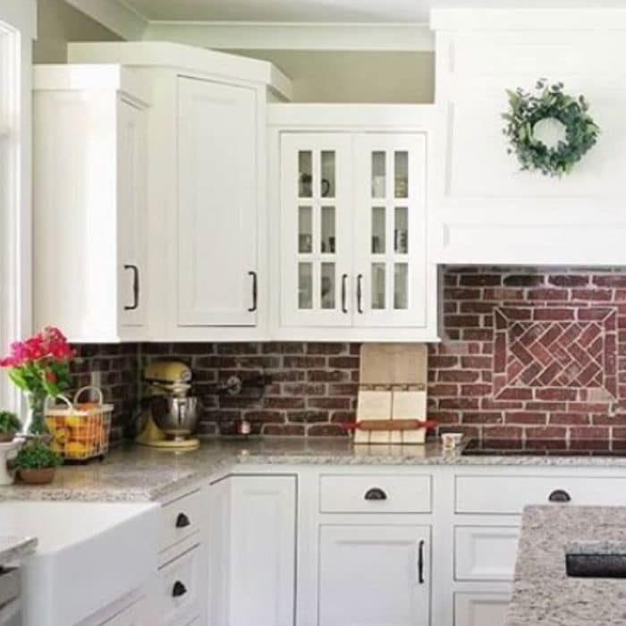 Kitchen cabinets painted Alabaster White by Love Hurtts