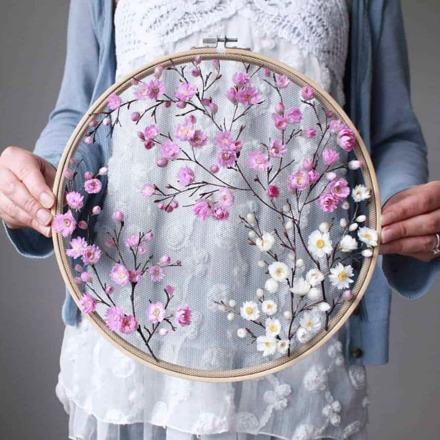 Embroidery hoop art with dried flowers