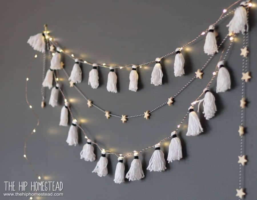 EASY DIY TASSEL LIGHT GARLAND By The Hip Homestead