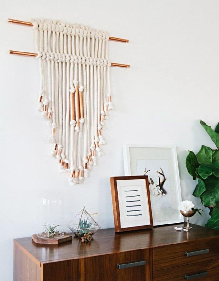 COTTON PIPING & COPPER PIPE DIY WALL HANGING By A Beautiful Mess