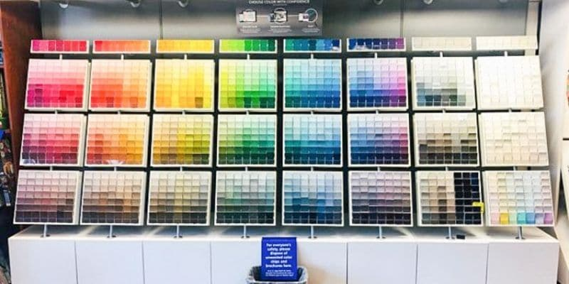 Best Way To Test A Paint Color with a wall of paint strips at Sherwin Williams