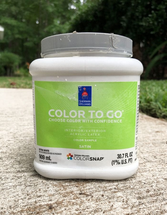 Sherwin Williams color to go paint sample can
