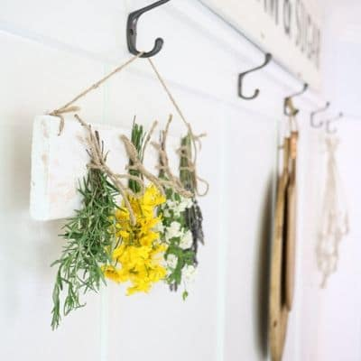 dried flower and herb wall hanging