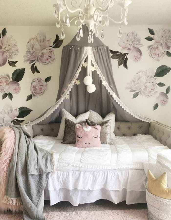 Canopy daybed for a little girl room by Laura Mitchell Interior Design