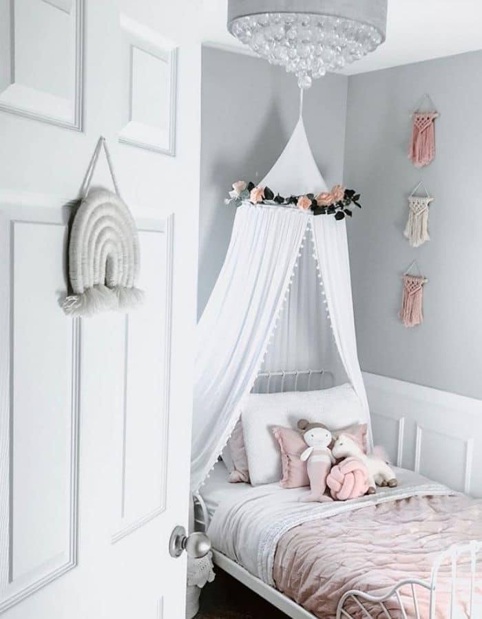 Macrame & A Canopy In A Girls Bedroom by Jen Boyko