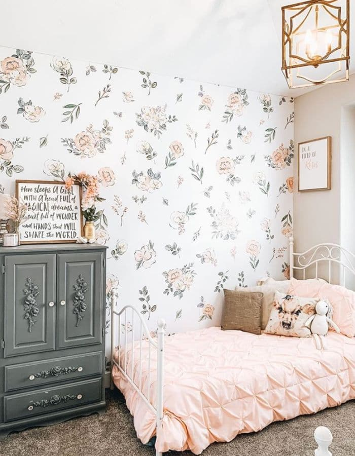 Wallpaper in a little girls room by The Barnwood Farmhouse