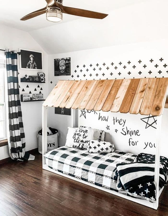Black & white color schemed boys room by Hello It's Shannon