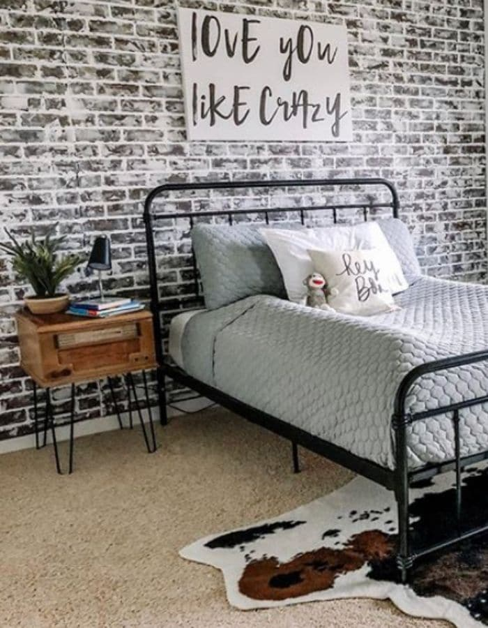 DIY Faux brick wall in a boys room by The Cottage On Broadway