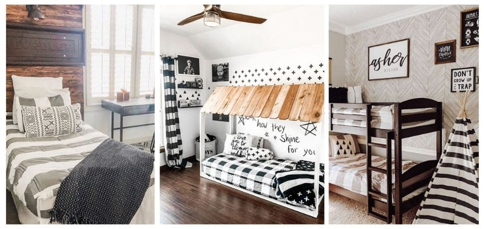 Little boys room decor ideas.  Farmhouse truck theme, clubhouse and outdoor adventure themes.