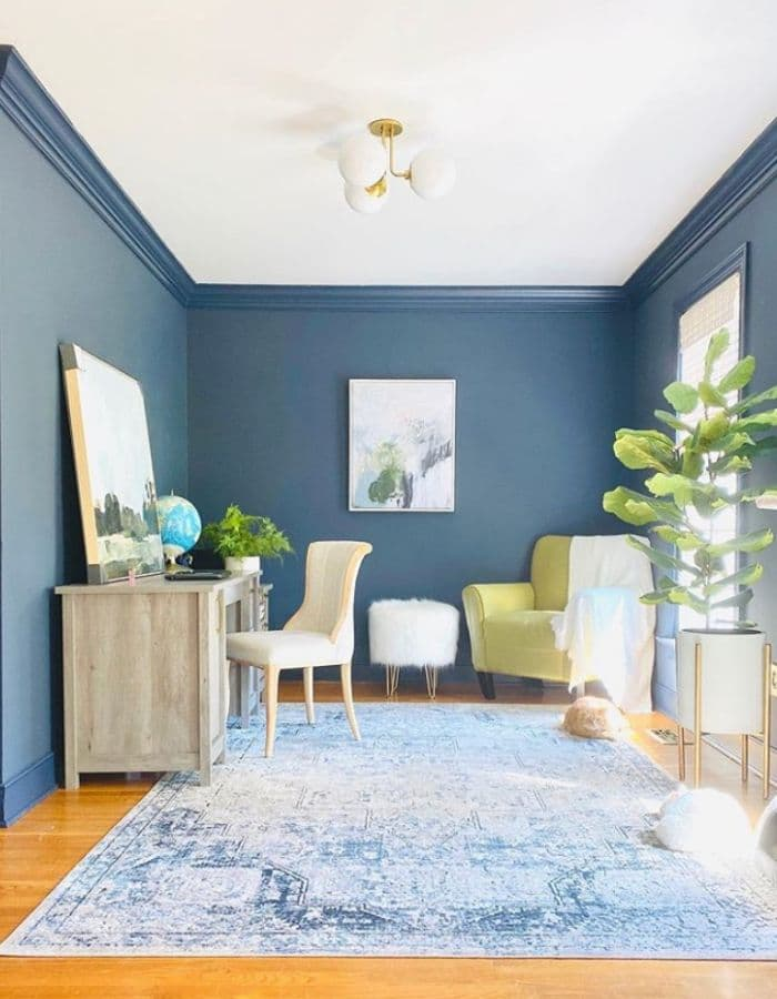 Hale Navy by Benjamin Moore in a home office by Champagne Taste Blog