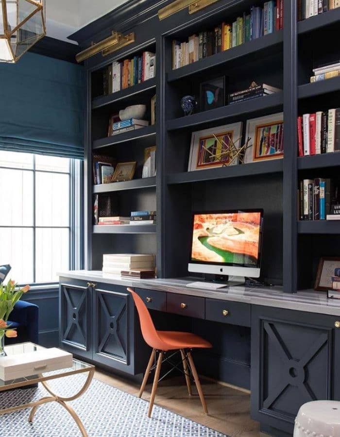 Benjamin Moore Hale Navy on a bookshelf by Ashley Goforth