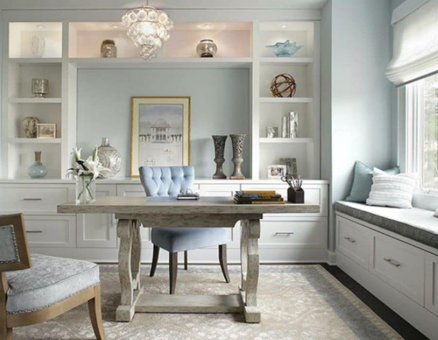 Benjamin Moore's Blue Lace in a farmhouse office by Jennifer Pacca Interiors