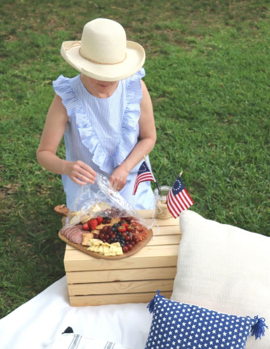 Independence day picnic decorations and a charcuterie board.