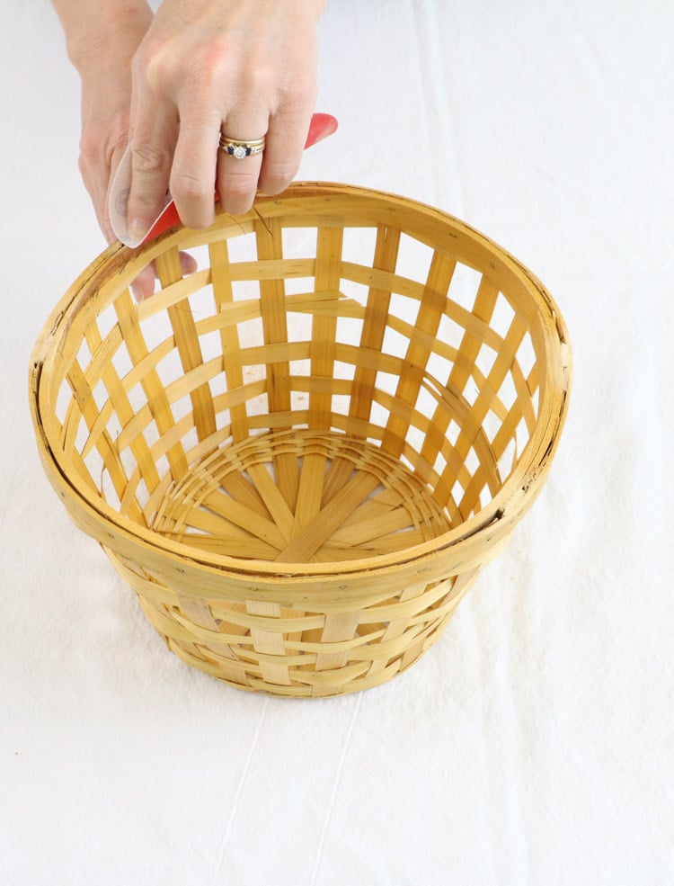 Basket light shade removing and handles on the basket and then sanding.