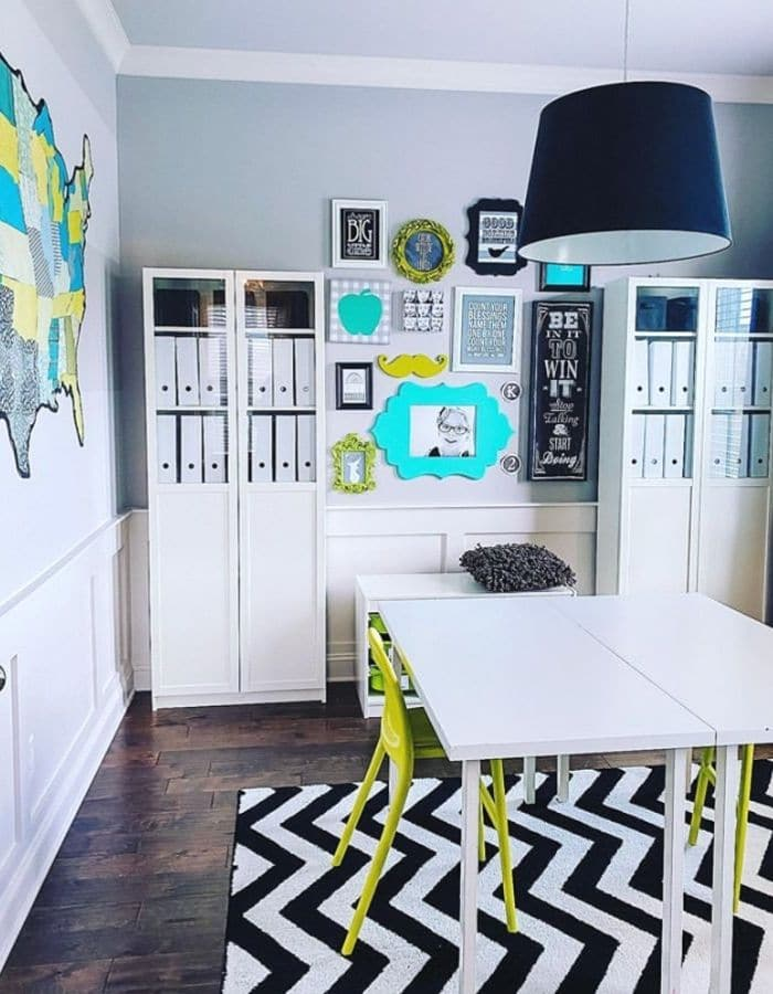 Pops of color in a homeschool area by Making Main Street