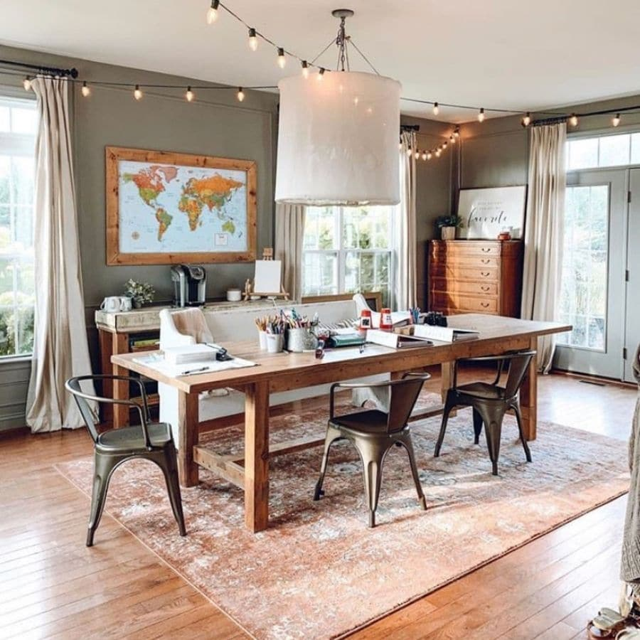 Homeschool classroom complete with world map by The Simple Farmhouse