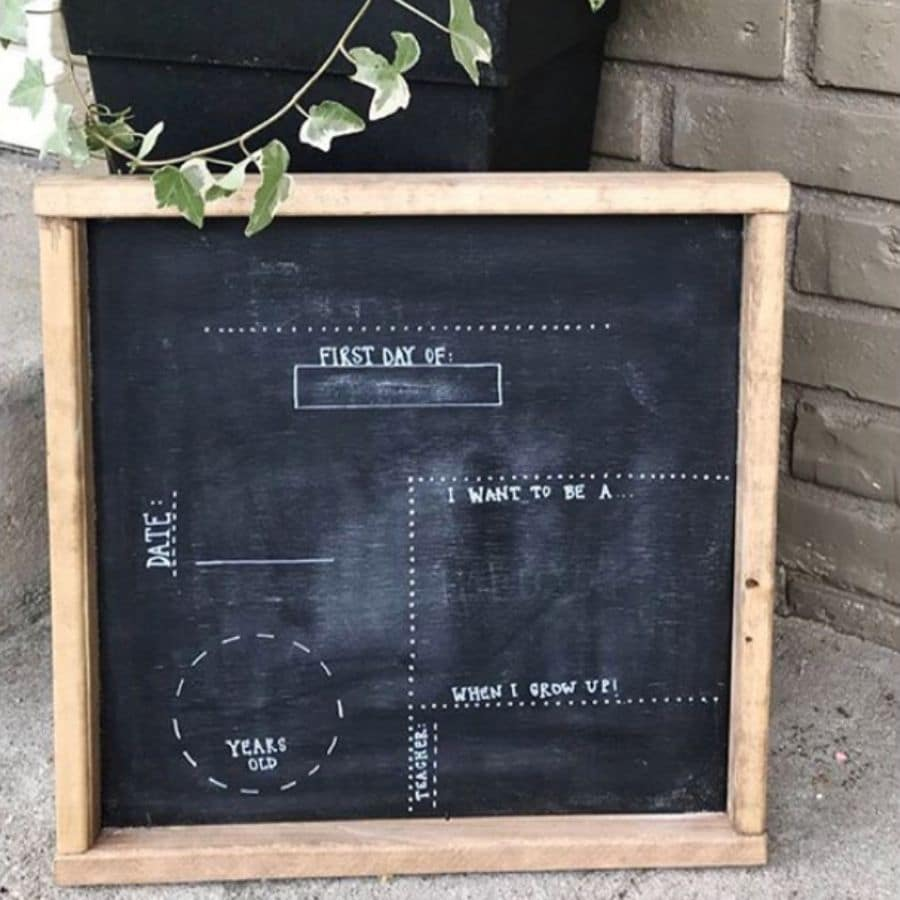 A chalkboard for the first day of school where you can fill in information like the age and name.