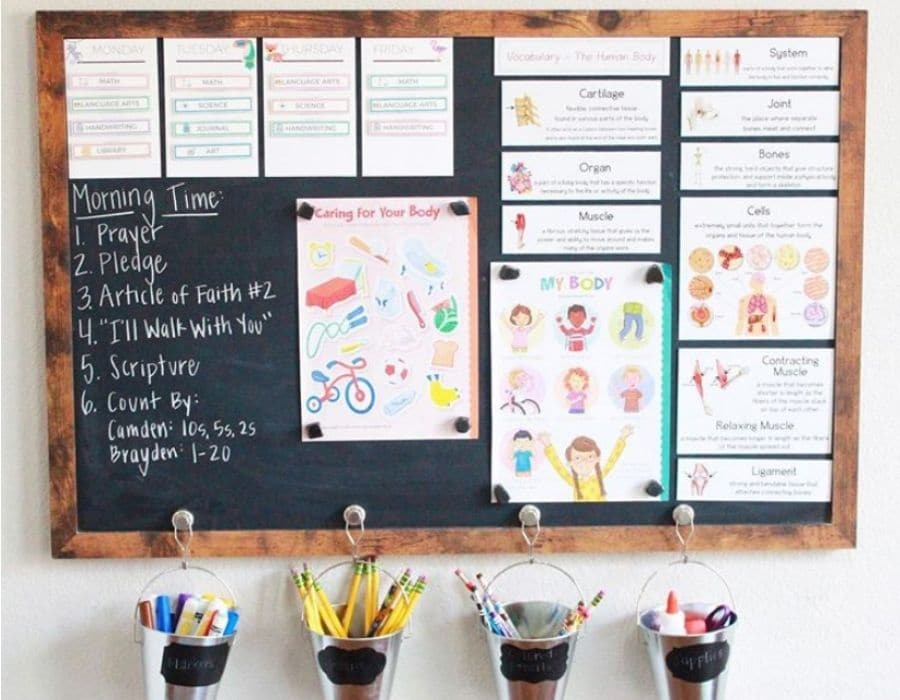 A large chalkboard that utilizes magnets to hang papers on the board as well as little buckets for school supplies.