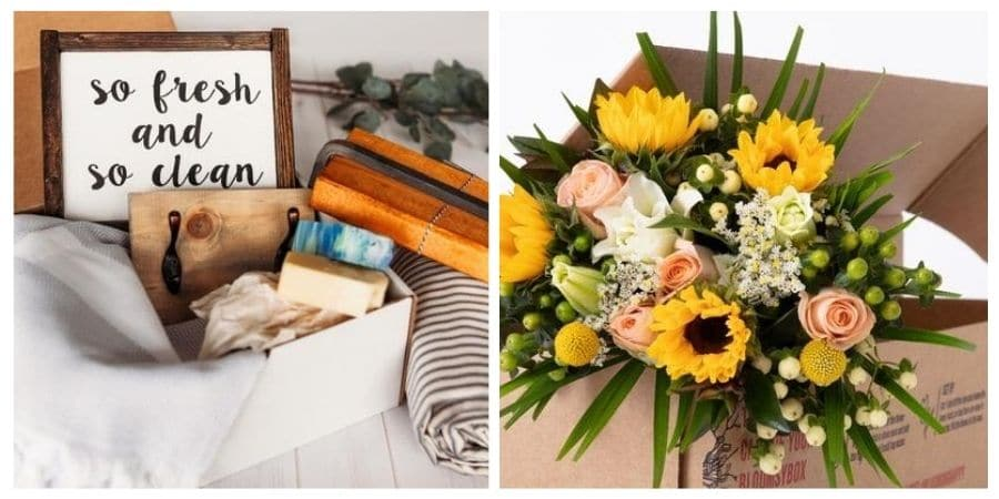 Monthly subscription box ideas.  The first is a home decor box and the second is a flower bouquet subscription.