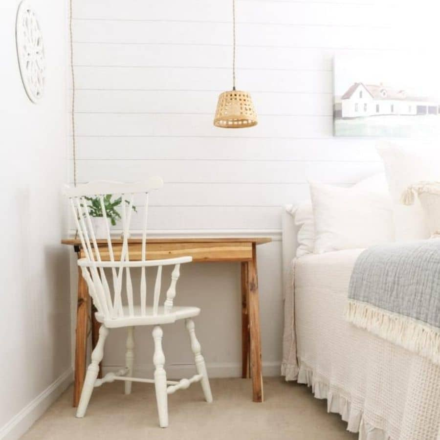 Here the hanging basket light fixture is hanging over the desk in a bedroom.