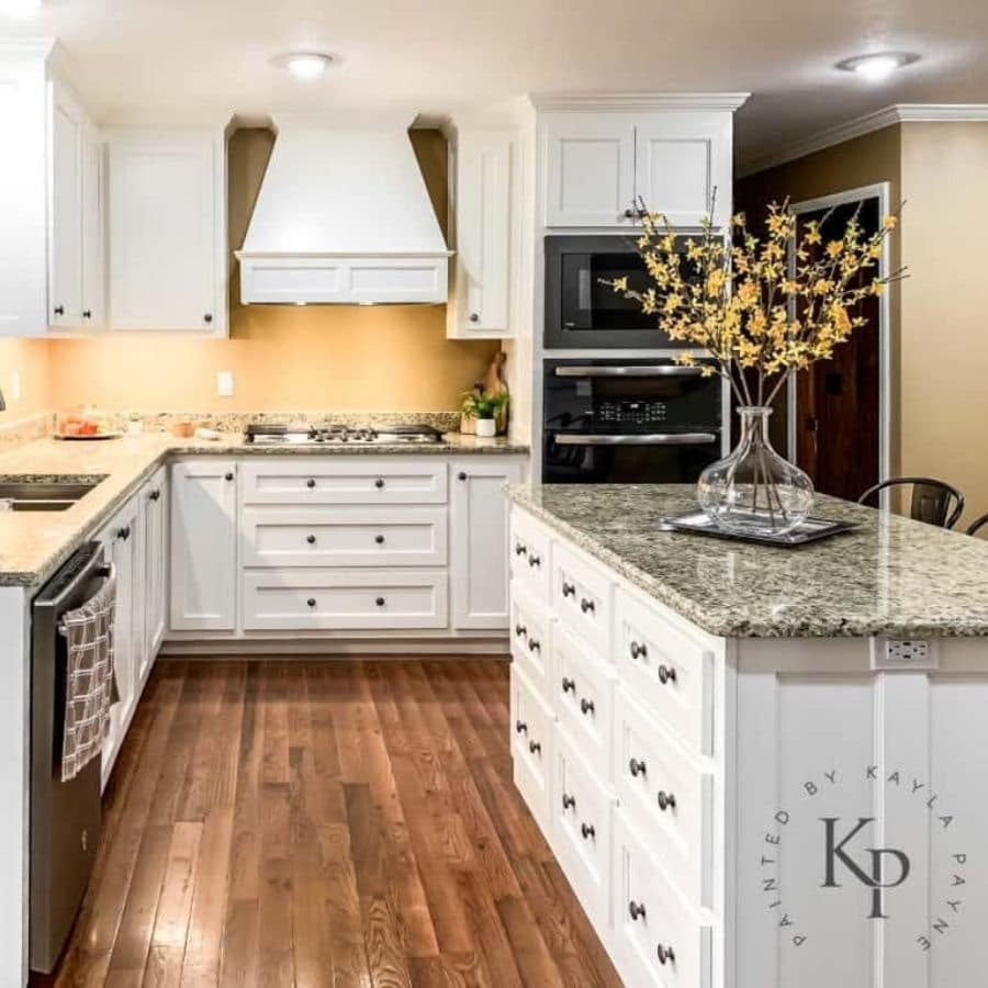 Sherwin Williams Dove White painted on kitchen cabinets.