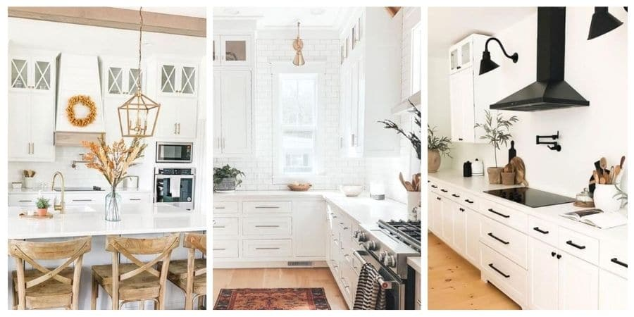 Popular Sherwin Williams white paint colors on cabinets.