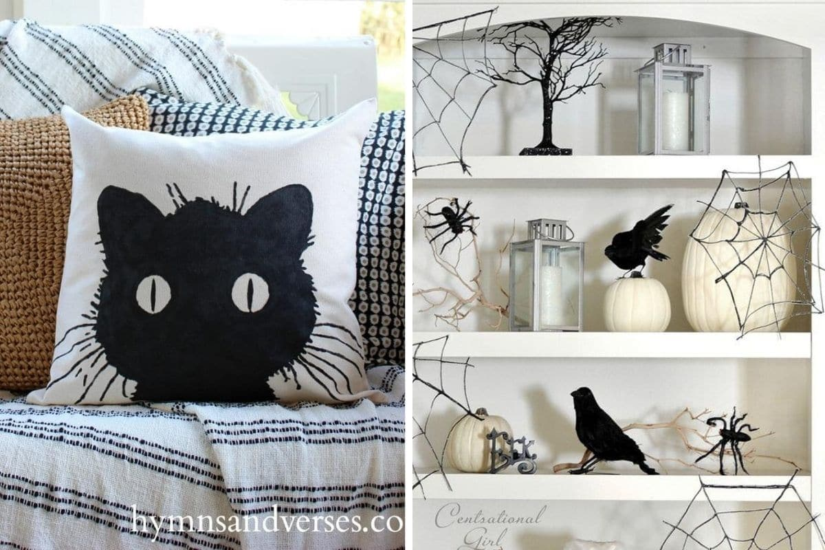 Cute, fun and not so scary easy to make Halloween decorations for your home decor.  White pillow with a black cat who has big eyes and a bookcase with crows, spider webs and lanterns.