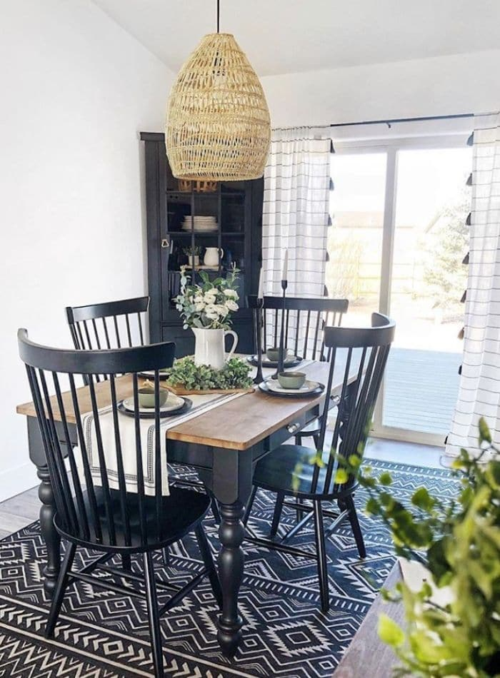 Here is dining room furniture painted with the color black by Behr.
