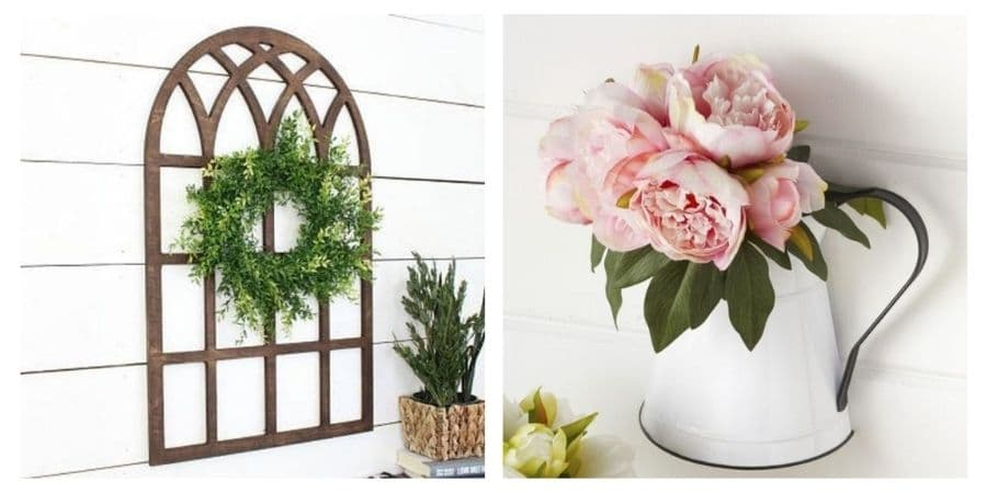 Images of a cathedral window and a farmhouse style water pitcher vase.