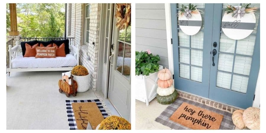 2 images of fall front door decor.