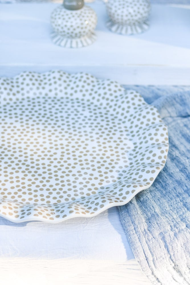 Ruffled polka dot charger for a place setting