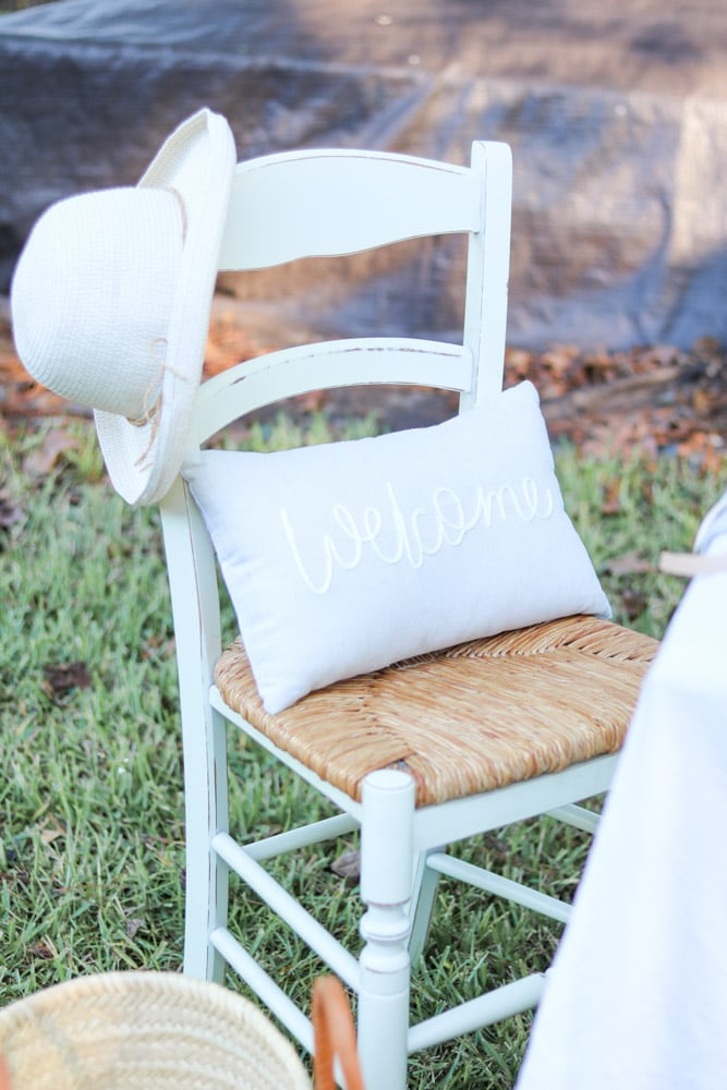 Pillow in chair at an outdoor dinner event