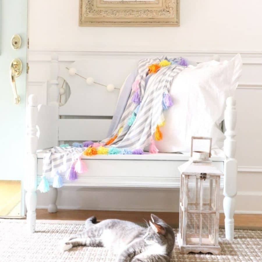 Another image of our bench but decorated with a DIY hassle blanket for summer.