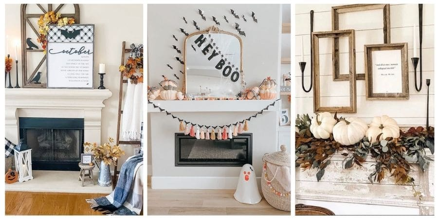 Halloween mantel decor ideas with bats, ravens, pumpkins and fall colors.
